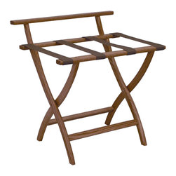 """Wooden Mallet - Luggage Rack w Standard Tan Webbing in Light - Our unique """"Wall Saver"""" feature prevents costly wall damage. Has multiple uses when it doubles as a breakfast tray holder or blanket stand. Folds flat and is easily stored in a closet or against a wall when not in use. Four 2 in. woven straps support heavy suitcases. Graceful, curved legs add a designer flair. Rated to hold suitcases up to 100 lbs.. Built using solid oak construction and state-of-the-art finish for heavy use and lasting beauty.  Made in the USA. No assembly required. All Wooden Mallet products are warranted for 1 year against defects in materials and workmanship. Overall: 29.5 in. L x 23.75 in. W x 18 in. H (7 lbs.). Open: 29.5 in. L x 23.75 in. W x 18 in. H. Closed: 29.5 in. L x 23.75 in. W x 4.5 in. HGive your guest room the feeling of a four star hotel with this beautiful luggage rack. Built using solid oak and sturdy webbing, even the heaviest suitcases are easily supported by the four 2 in. wide woven straps. Our unique """"Wall Saver"""" feature prevents costly wall damage. This luggage rack has multiple uses when it doubles as a breakfast tray holder or blanket stand. These luggage racks fold and unfold easily. Take it out for guests, and then fold it up for easy storage. It is also a great in the master bedroom for packing suitcases for business trips or vacations."""