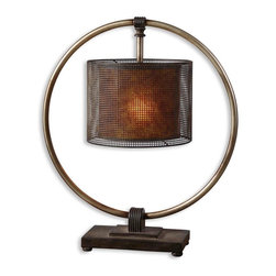 Uttermost - Uttermost Dalou Table Lamp in Antiqued Silver - Shown in picture: Rustic - Dark Bronze Finish With A Rottenstone Glaze And An Antiqued Silver Ring. Rustic - dark bronze finish with a rottenstone glaze and an antiqued silver ring. The shade is pierced metal with a rustic - dark bronze finish over a stained Mica inner shade.