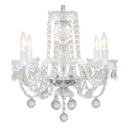 "The Gallery - Murano Venetian Style All-Crystal Chandelier 17"" - Crystals large and small spout and sparkle on this incredible chandelier. Make it the ceiling centerpiece of your favorite formal setting and you'll live like royals!"