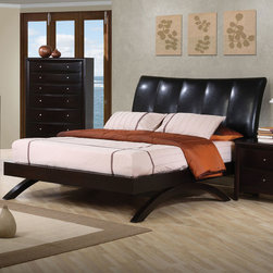 Coaster - Phoenix Queen Bed - The Phoenix collection is crafted from solid hardwood with maple veneers. It is finished in rich deep cappuccino. All drawers have bevelled wood fronts and are accented with brushed nickel hardware.