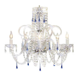 """The Gallery - Swarovski crystalrimmed chandelier - Blue Crystal chandelier chandeliers! H25"""" - This beautiful chandelier is trimmed with Sprectra crystal reliable crystal by Swarovski. Swarovski is the world's leading manufacturer of high quality crystal. Sprectra crystal Swarovski undergoes stringent quality control and offers the best crystal uniformity of sparkle, light reflection and Sprectral colors. A Great European Tradition. Nothing is quite as elegant as the fine crystal chandeliers that gave sparkle to brilliant evenings at palaces and manor houses across Europe. This beautiful crystal chandelier is decorated with 100% crystal that captures and reflects the light of the candle bulbs, each resting in a scalloped bobache.The timeless elegance of this chandelier is sure to lend a special atmosphere in every home. Please note this item requires assembly. This item comes with 18 inches of chain. Size: H 25"""" X W 24"""" 5 LIGHTS .assembly required SKU#A46-387/5BLUE Lightbulbs not included"""