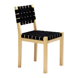 Artek Aino Aalto - 615 Chair - Birch and webbing make this simple dining chair one that will add great mid-century style to your home, whether you opt to use it in the dining room, in an eat-in kitchen, or as a dressing table chair.