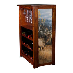 Kelseys Collection - Wine Cabinet 15 bottle Meadow Music - Wine Cabinet stores fifteen wine bottles and glassware with licensed artwork by Rosemary Millette giclee-printed on canvas side panels  The frame, top, and racks are solid New Zealand radiata pine with a hand stained and hand rubbed medium reddish brown finish, which is then protected with a lacquer coat and top coat. The art is giclee printed on canvas with three coats of UV inhibitor to protect against sunlight, extending the life of the art. The canvas is then glued onto panels and inserted into the frames.
