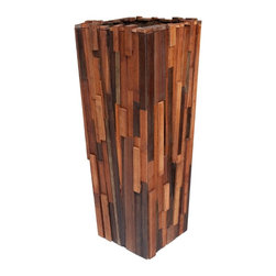 Rotsen Furniture - Salvaged Wood Planter, Medium - If you've got a passion for the repurposed, this piece belongs in your favorite setting. Salvaged wood of different species is transformed into an impressive patchwork planter, perfect for your ecoconscious contemporary decor.