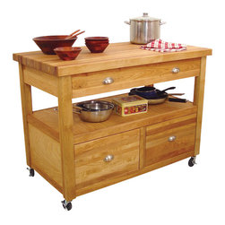Catskill Craftsmen - Catskill Craftsmen Grand Americana Butcher Block Island Workcenter in Natural - Catskill Craftsmen - Kitchen Carts - 1426 - Bring light and rustic styling to your home with the Catskill Craftsmen Grand Americana Workcenter. The locking casters ensure this unit will never be in the way. So prepare a meal fit for royalty with the Grand Americana Work Center.