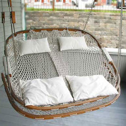 Double Hammock Chair with Footrest - This double hanging hammock looks sweet enough to be found on my deck.