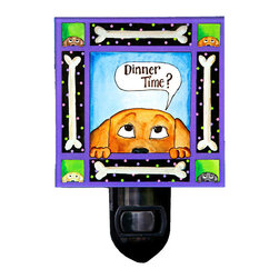 Dinner Dog Night Light - Our whimsical Dinner Dog Night Light will brighten any room. It is made of a print of original painting which is sandwiched in between two layers of durable acrylic. The light is UL approved and comes with a standard four watt night light bulb. Gift box included. Made in the USA. (Be sure to look for our Dinner Dog wall clock and dog-themed alarm clock and magnets, too!)