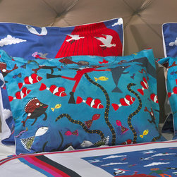 """ARTnBED - Nautical Duvet Cover Set - """" Pottering at the Port"""" - Sailing off from the Port to new adventures across the world and then returning to your loved ones waiting with open arms to embrace you. This will be one of many wonderful dreams to be had when you sleep in """"Pottering at the Port"""" by artist Marie Jonsson-Harrison. Come pottering around the port with us, perhaps have a snorkel or a drink or just enjoy the buskers and the atmosphere."""