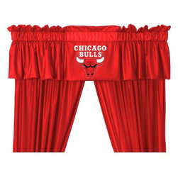 Sports Coverage - NBA Chicago Bulls Valance - Finish off the room in style with this great looking NBA Chicago Bulls Valance. A must have for any true fan! Show your team spirit with this officially licensed NBA team Valance. Valance is 14L x 88W. Has a 3 rod pocket for gathering, and 2 header. Logo is screenprinted. Machine washable. 100% Polyester Jersey Mesh.