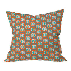 DENY Designs - Mummysam Orange Pomegranate Throw Pillow, 26x26x7 - Talk about good taste! A soft gray background balances the juicy fruity print, allowing you to subtly perk up your decor. Alas, antioxidants not included.