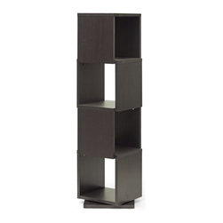 Baxton Studio - Baxton Studio Ogden Dark Brown 4-Level Rotating Modern Bookshelf - With 360 degree swivel and four shelves, the Ogden Designer Bookshelf makes it easy to find the tome you're looking for. Equally fitting for photos and other home decor, this contemporary display shelf is made in Malaysia with dark brown faux wood grain paper veneer over a frame of engineered wood. The Ogden Contemporary Bookshelf requires assembly and is easily cleaned with the swipe of a dry cloth. also available are 2, 3, and 5-level options of the Ogden Bookshelf (each sold separately).