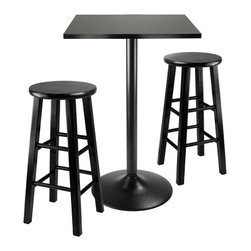 """Winsome - Obsidian 3 Piece Counter Height Dining Set - 3 Piece counter table set comes with sleek and stylish all black counter height table and two 24'' black square legs stool. Round table top is veneer in black on composite wood with metal black coating for base. Features: -Elegant black island table with square top and metal base.-Set includes: Counter height table and 2 stools.-Black finish.-Obsidian collection.-Collection: Obsidian.-Top Finish: Black.-Base Finish: Base Finish.-Chair Finish: Black.-Hardware Finish: Metal.-Distressed: No.-Powder Coated Finish: No.-Gloss Finish: No.-Top Material: MDF.-Base Material: Metal.-Chair Material: Solid and composite wood.-Solid Wood Construction: No.-Reclaimed Wood: No.-Number of Items Included: 3.-Hardware Material: Metal.-Non-Toxic: Yes.-Scratch Resistant: No.-Rust Resistant: No.-Leaf Included: No.-Seating Capacity: 4.-Wine Storage: No.-Shelving: No.-Drawers: No.-Corner Block: No.-Stemware Holder: No.-Upholstered Side Chair: No.-Upholstered Arm Chair: No.-Upholstered Bench: No.-Cushioned Chair Seats: No.-Chair Casters: No.-Lighted: No.-Outdoor Use: No.-Weight Capacity: 100 lbs.-Swatch Available: No.-Commercial Use: No.-Recycled Content: No.-Eco-Friendly: No.Specifications: -ISTA 3A Certified: No.-General Conformity Certified: Yes.Dimensions: -Table: -Overall Table Height - Top to Bottom: 34.65"""".-Overall Table Width - Side to Side: 23.62"""".-Overall Table Depth - Front to Back: 23.62"""".-Overall Table Weight: 22 lbs..-Side Chair: -Overall Side Chair Height - Top to Bottom: 24.2"""".-Overall Side Chair Width - Side to Side: 13.4"""".-Overall Side Chair Depth - Front to Back: 13.4""""..Assembly: -Assembly Required: Yes.-Additional Parts Required: No.Warranty: -Product Warranty: Replacement parts within 60 days from date of purchase."""