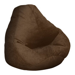 Elite Products - Elite Products Extra Large Soft Suede Beanbag in Chocolate - Elite Products - Bean Bags - 301051165 - Its comfort per-suede-ion beats new suede shoes. Our Urban Suede features all the richness and beauty of suede derived from the newest fiber technology 100 percent pure microdenier polyester fiber. It is perfect for high traffic homes and apartments. It is simply warm and comfortable and creates a great look in any room decor.