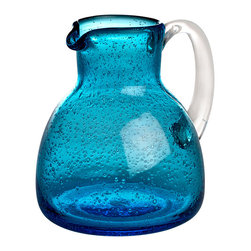 Bubble Pitcher in Sea Blue - 1 qt - The crystal-clear handle of the Bubble Pitcher in Sea Blue is easy to grasp for pouring � but perhaps more importantly, its look contrasts with the internal texture and bright marine hue of the vessel's walls, which are made from colored and seeded glass for a relaxed, festive feel.  For the bar or the breakfast table, this pitcher is an instant classic.
