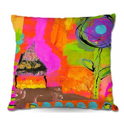DiaNoche Designs - Pillow Woven Poplin - Glitter House - Toss this decorative pillow on any bed, sofa or chair, and add personality to your chic and stylish decor. Lay your head against your new art and relax! Made of woven Poly-Poplin.  Includes a cushy supportive pillow insert, zipped inside. Dye Sublimation printing adheres the ink to the material for long life and durability. Double Sided Print, Machine Washable, Product may vary slightly from image.