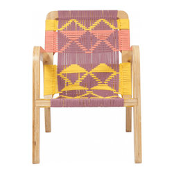 Pacific Wonderland Macrame Palapa Sunshine and Apricot Lounge Chair - This totally wonderful combination of geometrically woven macrame and birch plywood would be perfect for either indoor or outdoor use in my home.