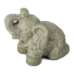 Repose Home - Royal Elephant - Trunk raised in a gesture of good luck and fortune, this little elephant welcomes all that is good into your home or garden.
