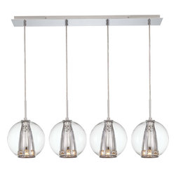 George Kovacs - George Kovacs P1041-077 Bling Bang 4 Light Island Pendant - - Chrome Finish