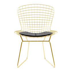 n/a - Gold Bertoia Side Chair With Black Seat Pad - Our Bertoia Wire Side Chair in gold finish is a high quality reproduction of the original design by Harry Bertoia. It is a study of space, form, and function. The Side Chair is exceptionally strong and surprisingly comfortable with its unique bent and welded steel rod construction.
