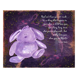 Oh How Cute Kids by Serena Bowman - Velveteen Bunny, Ready To Hang Canvas Kid's Wall Decor, 24 X 30 - Each kid is unique in his/her own way, so why shouldn't their wall decor be as well! With our extensive selection of canvas wall art for kids, from princesses to spaceships, from cowboys to traveling girls, we'll help you find that perfect piece for your special one.  Or you can fill the entire room with our imaginative art; every canvas is part of a coordinated series, an easy way to provide a complete and unified look for any room.