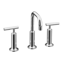 KOHLER - KOHLER K-14407-4-CP Purist Widespread Lavatory Faucet with Low Gooseneck Spout - KOHLER K-14407-4-CP Purist Widespread Lavatory Faucet with Low Gooseneck Spout and High Lever Handles in Polished Chrome