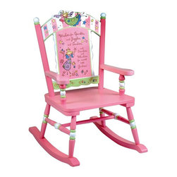 Levels of Discovery - Levels of Discovery Fairy Wishes Rocker - LOD61000 - Shop for Childrens Rocking Chairs from Hayneedle.com! Your darling little girl will love reading books and relaxing in her child-sized Fairy Wishes Rocker which features sturdy wooden construction and beautiful hand-painted details. This pink rocker has accents of white and pastel green for an overall delicate look and the scalloped back is decorated with a whimsical fairy and a special message: Wishes for Sparkles and Giggles and Smilies... and Swirlies and Whirlies for sweet little Girlies! Includes special understamp beneath the seat that the customer can personalize yourself with the child s name the name of the gift-giver and the special occasion when the chair is received.