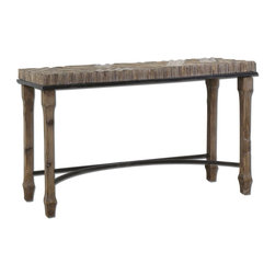 Uttermost - Uttermost Tehama Console 55x18 Console Table - Weathered, sanded and lightly burnished natural fir wood with aged black metal accents and a light dusty wash.