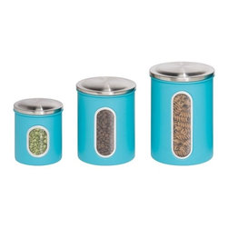 3-Pack Metal Storage Canisters - Honey-Can-Do KCH-01312 3-Pack Steel Storage Canister Containers, Blue. Steel containers may be nested inside of each other, saves space when necessary. Pressure fitted lids keep contents safe inside. Clear windows let you can check supply levels of contents inside containers. Comes in  1.8L, 1.2L, and .8-liter sizes, allowing you flexibility to store a variety of contents. Round shaped containers are easy to clean and will provide years of worry-free use.