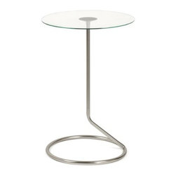 Umbra - Umbra Loop Side Table, Nickel - Our Loop side table in nickel by Umbra is simple and pure in its form, giving the illusion of a balancing table top and its tubular structure below. This table constructed of tempered glass with powder coated steel base, great for small spaces such as condos, apartments or small homes. Designed by Alan Wisniewski for Umbra- the worldwide leader in casual, contemporary, affordable design for the home.