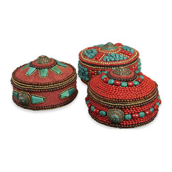 Kathy Kuo Home - Rossini Global Rustic Coral Turquoise Decorative Boxes - Set of 3 - Texture, craft, color and a sense of history all combine to create the unique global signature of these beaded decorative boxes.  Evoking spice routes and the Silk Road, this trio add instant interest to any space.