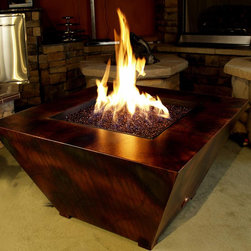 "R & R Living Parallax Square Fire Pit Table - The bold, contemporary shape of the Parallax Square Fire Pit Table is the perfect complement to modern outdoor living. R & R Living's Parallax is made from 98% recycled steel and finished to perfection using indestructible Armor finish coatings. The coatings are artfully applied by hand so that each unit is utterly unique. You may choose from twelve color options including Copper Vein, Oil Rubbed Bronze and Silver Vein - that are engineered to hold up in harsh salt air environments. The Parallax is weather resistant, UV protected and fade resistant and will not rust or corrode. It is also designed for maximum under-carriage air flow and drainage with ¾"" clearance."