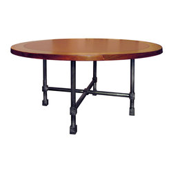 TerraSur - Praia Round Dining Table - This solid wood round table will be right at home in your dining nook or room. Its chestnut-brown, cross-grain glossy top sits atop a base of four solid-steel legs. Made in Argentina, it comes in three sizes.