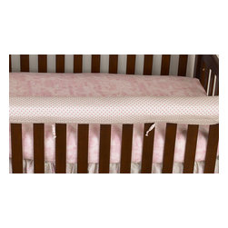 Cotton Tale Designs - Heaven Sent Girl Front Cover Up - A quality baby bedding set is essential in making your nursery warm and inviting. All Cotton Tale patterns are made using quality materials and are uniquely designed to create your perfect nursery. The front cover up is both function and design. What a great idea, this front rail cover up protects your foot board on the convertible cribs and it looks great. For the parent choosing not to use a bumper, it can add the needed decor lost when the bumper is removed. Cover ups can be used with a full bumper as well. All Cotton Tale and N. Selby patterns have matching crib rails cover ups. Wash gentle cycle, separate, cold water. Tumble dry low or hang dry. This collection is perfect for your little girl.