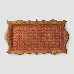 L'Objet - Tabriz Rectangular Platter - Designed in the image of a gorgeous Tabriz rug, this lovely hand-painted platter would be stunning to display standing up on a shelf or to put into service at a party or gathering.  This tray is art that is functional for everyday use.  Beautiful!