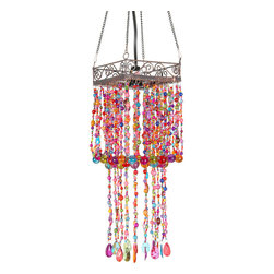 "Oriental Furniture - Draped Multi Color Beads Hanging Lantern - Colorful and creative overhead light fixture in attractive ""shabby chic"" chained hanging lantern design. American specification design including UL wiring and small bulb socket; designed for hard wired ceiling installation."