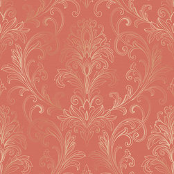 Ballard Designs - Linear Damask Wallpaper Coral/Pearl Double Roll - Double roll. Pre-pasted. Washable. Strippable. The graceful and delicate acanthus leaf motif of this transitional wallpaper is artistically sketched in outline filigree detail creating an intricate and softly framed damask that is light, airy and elegant. Linear Damask Wallpaper features: . . . .