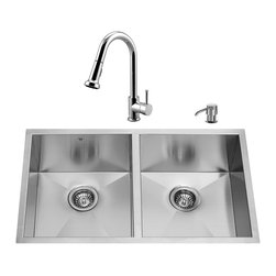"VIGO Industries - VIGO All in One 32-inch Undermount Stainless Steel Double Bowl Kitchen Sink and - Modernize the look of your entire kitchen with a VIGO All in One Kitchen Set featuring a 32"" Undermount kitchen sink, faucet, soap dispenser, two matching bottom grids and two sink strainers."