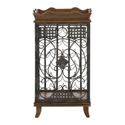 Safavieh - Robin Wine Rack With Removable Tray - A connoisseur's delight, the Robin Wine Rack provides ample storage within a beautifully detailed brown birch wood cabinet. Inspired by an ornate garden gate, the filigreed door allows guests to view your wine collection and a removable tray makes you an instant butler.