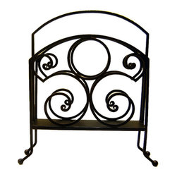 Iron Artistica - Iron Artistica Scroll Magazine Rack - Another Iron Artistica Exclusive, the Scroll Magazine Rack is a simple and harmonious design, with flowing lines and a striking circle motif. This transitional design works with any decor, and the hand-painted Bronze Rust finish gives is a warm and slightly antiqued feel. Available in Bronze Rust finish. DOES NOT include hanging hardware. Additional Discounts may not apply to this item.