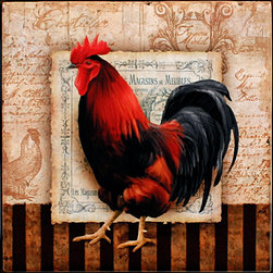 "Tile Art Gallery - Prize Rooster II - Ceramic Accent Tile, 8 in - This is a beautiful sublimation printed ceramic tile entitled ""Prize Rooster II"" by artist Conrad Knutsen. The printed tile displays a rooster with a canvas background. Pricing starts at just $14.95 for a 4.25 inch tile."
