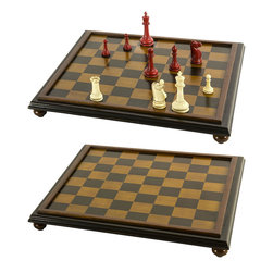 """Classic Chess Board - The classic chess board measures 16.75"""" x 16.75"""" x 2"""". Playing in a designated corner of Hyde Park or a chess-cafe in the Leidsedwarsstraat of old Amsterdam... it helps to use a well-made board and pieces, preferably Staunton, the grandmasters tournament tools of the trade. Both are now available for the smart and sophisticated, who like a board on hand, maybe even set aside for a night or a week, to be engaged at any time, ready for attack. That is the life of a beautiful board and game. Not only the strategy and battle of minds matter, but also the esthetic appearance that attracts and pleases. This item can be used with the small Classic Staunton Chess Set (not included). Intarsia squares of light and dark walnut honey framed in dark walnut honey. The rounded legs are finished with felt padding to prevent table scratches. Only the board is for sale."""