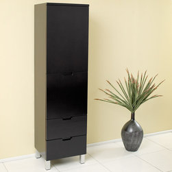 Fresca - Fresca Espresso Bathroom Linen Cabinet w/3 Pull-Out Drawers - This Espresso finish side cabinet comes with three (3) pull-out drawers and one (1) cabinet for ample storage space.
