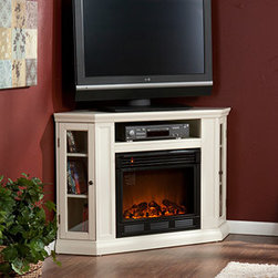 Holly and Martin - Ponoma Wall or Corner Electric Fireplace Media Cabinet in Ivory - 37-197-084-6-1 - The Ponoma Wall or Corner Electric Fireplace Media Cabinet in Ivory is a flexible entertainment console to save space in a uniquely shaped room. Enjoy the ambiance and benefits of an electric fireplace anywhere there's a standard outlet.