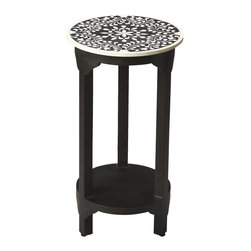 Butler Specialty - Butler Carmella Black Bone Inlay Accent Table - Beautiful 4-way symmetry enhances this black bone inlay table with shimmering opalescent detail. Its rounded shape and second shelf make this ideal for showcasing photos or keepsakes.