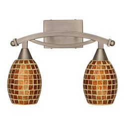 Toltec Lighting - Bow 12.25 in. Bath Bar with Mosaic Glass - Bulbs not included