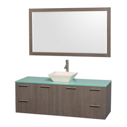"Wyndham - Amare 60"" Wall Single Vanity Set in Grey Oak with Green Glass Top & Bone Procela - Modern clean lines and a truly elegant design aesthetic meet affordability in the Wyndham Collection Amare Vanity. Available with green glass or pure white man-made stone counters, and featuring soft close door hinges and drawer glides, you'll never hear a noisy door again! Meticulously finished with brushed Chrome hardware, the attention to detail on this elegant contemporary vanity is unrivalled.; Constructed of beautiful veneers over the highest grade MDF, engineered for durability, and to prevent warping and last a lifetime; 8-stage preparation, veneering and finishing process; Highly water-resistant low V.O.C. sealed finish; Unique and striking contemporary design; Modern Wall-Mount Design; Deep Doweled Drawers; Fully-extending soft-close drawer slides; Counter options include Green Glass, White Man-Made Stone, and Caesarstone (many colors available); Single-hole faucet mount; Available with Porcelain, Granite, and Marble vessel sink(s); Single-hole faucet mount; Faucet(s) not included; Mirror included; Metal exterior hardware with brushed chrome finish; Two (2) functional doors; Two (4) functional Drawers; Plenty of storage space; Includes drain assemblies and P-traps for easy assembly; Minimal assembly required; Weight: 302 lbs; Dimensions: Vanity: 60""W x 22-1/4""D x 21-1/4""H Sink adds 5 to 5 1/2"" to height; Mirror(s): 71""L x 36""D x 3""H"