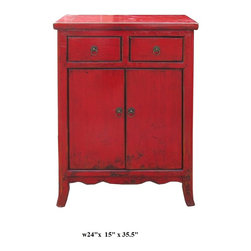 Chinese Red Rustic Lacquer Side Table Nightstand - This is simple side table / nighstand with rustic red lacquer finish. The legs have minor curve. The hardware is simple round little circle.