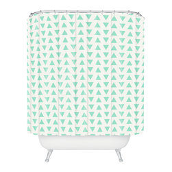 DENY Designs - Allyson Johnson Minty Triangles Shower Curtain - Who says bathrooms can't be fun? To get the most bang for your buck, start with an artistic, inventive shower curtain. We've got endless options that will really make your bathroom pop. Heck, your guests may start spending a little extra time in there because of it!