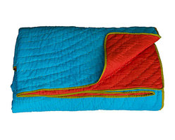 KOKO - Turquoise and Red Reversible Quilt, Queen - The colors in this quilt are so vibrant and lively. It would surely steal the show on your bed or sofa. All that beautiful stitch work deserves to take center stage where ever it's used.
