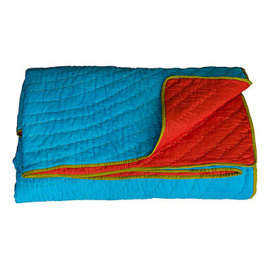KOKO - Queen Coverlet, Reversible, Turquoise/Red - The colors in this quilt are so vibrant and lively. It would surely steal the show on your bed or sofa. All that beautiful stitch work deserves to take center stage where ever it's used.